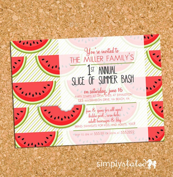 A Watermelon Slice of Summer Fun   custom summer party invitation, watermelon party invite - Printable Digital File, Print Service Available