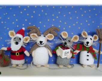 Snow Mice  knitted toy mice  Pattern only IMMEDIATE DOWNLOAD