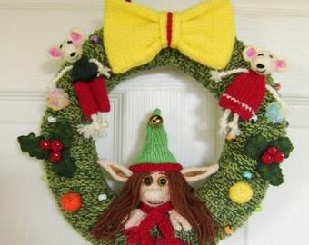 Christmas Elf Wreath   :   Pattern only IMMEDIATE DOWNLOAD