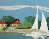 Sailing in the Late Afternoon, limited edition serigraph