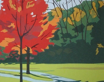Small Red Tree, limited edition serigraph
