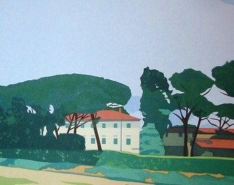 In Tuscany- Stone Pines, limited edition serigraph