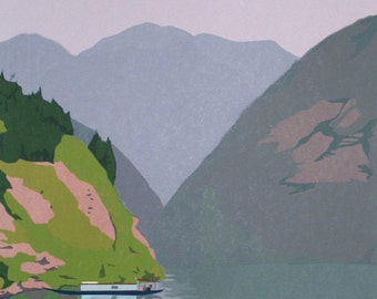 On the Yangtze River, limited edition serigraph