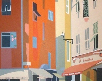 In Nice- Street Scene, limited edition serigraph