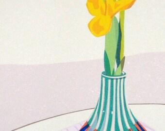 Yellow Irises, limited edition serigraph