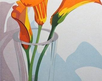 Three Calla Lilies, limited edition serigraph