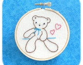 teddy bear embroidery hoop art wall hanging hand stitched cotton 3 inch hoop