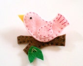 light pink bird on a branch felt pin hand stitched accessory brooch