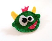 green friendly monster with horns felt pin hand stitched accessory brooch