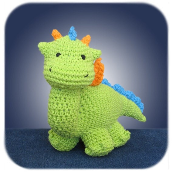dragon crochet plush in lime green cotton yarn handmade stuffed animal amigurumi