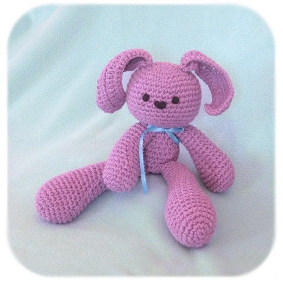 stuffed bunny rabbit crochet plush in purple cotton yarn handmade amigurumi animal