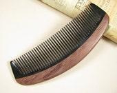 Purpleheart Wood and Buffalo Horn Hair Care Comb