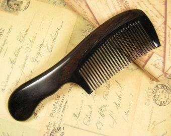 Buffalo Horn and Ebony Wood Hair Comb