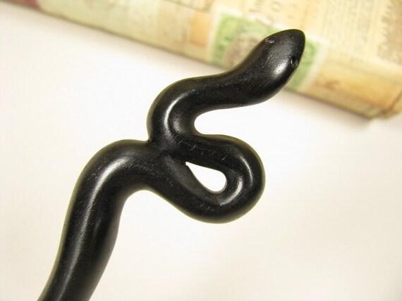 Exquisite Ebony Wood Hair Stick - snake
