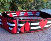 """Martingale Collar Captive Heart Stripe 1"""" width adjustable / or 1.5"""" width listing - or side release listing within"""