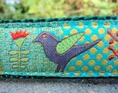 """Dog Collar 1"""" wide Quick Release collar Birds in Flora adjustable - limited ribbon no martingale - see details for info"""
