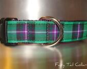 "Tartan Dog Collar Kelly Tartan 1"" width adjustable Side Release buckle - martingale style is cost upgrade"