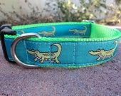 """Dog Collar 1"""" wide side release buckle adjustable Green Gators /martingale style is cost upgrade"""