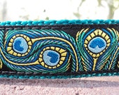 """Dog Collar 1"""" wide adjustable side release buckle Peacock Art / see 3/4"""" & 1.5"""" listings / martingale style is cost upgrade"""