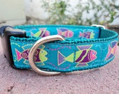 """Dog Collar Happy Fish 1"""" wide adjustable side release buckle -  Martingale style is cost upgrade"""