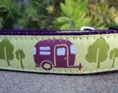 """Sale Dog Collar Happy Camper 1"""" width adjustable side release buckle /  limited to one collar, no martingale"""