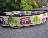 """Dog Collar 1"""" Happy Camper side release /  enough ribbon for One collar"""