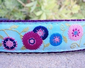 "Sale Dog Collar Flower Power Blue 1"" wide Quick Release buckle adjustable - martingale style is cost upgrade"