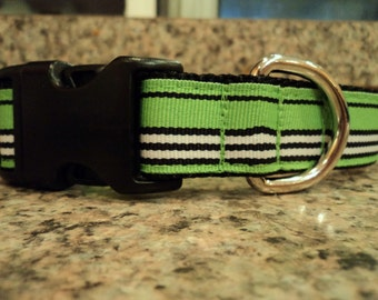 """Sale Dog Collar Green Street 1"""" wide Side Release adjustable buckle - martingale style is cost upgrade"""