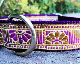 "Sale Dog Collar 1"" wide Quick Release adjustable buckle Tasha / very limited ribbon"