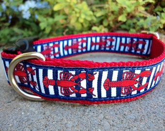 "Dog Collar Red Lobsters 1"" wide Quick Release buckle adjustable - no martingale - limited designer ribbon"