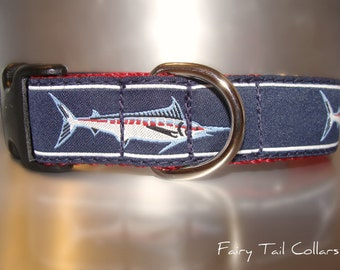 "Sale Dog Collar Marlin 1"" wide Quick  Release buckle adjustable - no martingale limited ribbon"