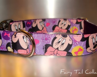"Disney Minnie Mouse, Lavender 3/4"" or 1"" width Quick Release buckle collar adjustable - upgrade to martingale -state  dogs neck measurement"