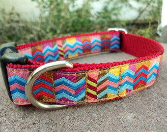 """Sale Dog Collar Chevron Bright 1"""" wide adjustable side release buckle - martingale style is cost upgrade"""