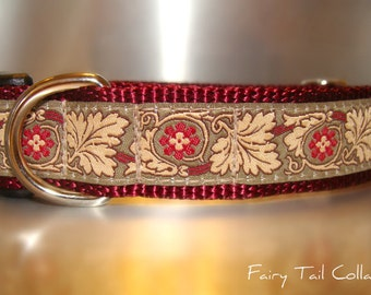"Dog Collar 1"" wide Side Release buckle or Martingale collar style  Burgundy Wine"
