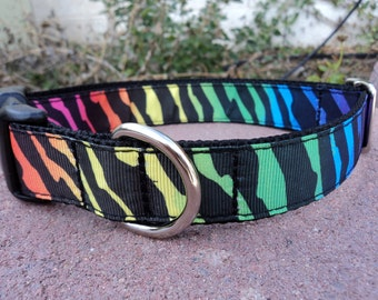 """Sale Dog Collar Zebra Wild 1"""" wide Quick Release buckle collar adjustable - martingale style is cost upgrade"""