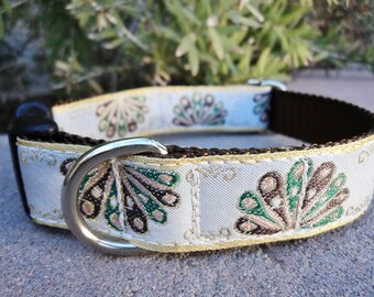 "Sale Dog Collar 1"" width Quick Release buckle adjustable Plume - no martingale due to limited ribbon"