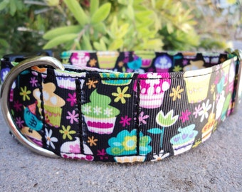 "Sale Large Dog Collar Fancy  Cupcakes 1.5"" Quick Release buckle adjustable - martingale collar style is cost upgrade"
