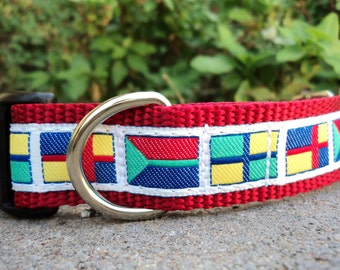 "Sale Dog Collar Nautical Flags 1"" wide side release buckle adjustable - martingale collar style is cost upgrade"