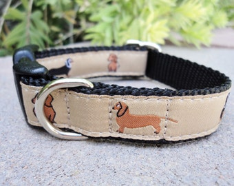 "Sale Dog Collar Dachshund 3/4"" or 1"" wide side release adjustable - no martingales limited ribbon"