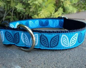 "Sale Dog Collar 1"" Side Release adjustable buckle Blue Petals - no martingale"