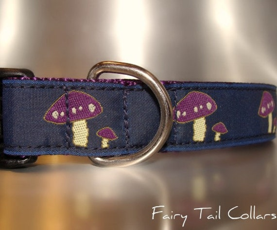 """Sale Dog Collar Purple Mushrooms Navy 1"""" wide Quick Release buckle adjustable - see all mushroom colors within - no martingale"""