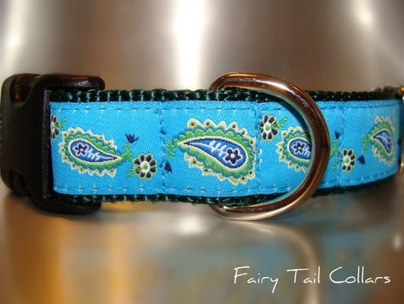 "Sale Dog Collar Turquoise Paisley 1"" width Side Release buckle / no martingale limited ribbon"