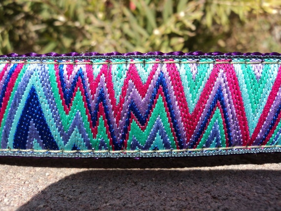 """Dog Collar Chevron Lightning Bolts 1"""" wide Side Release buckle - no martingale style due to limited ribbon"""