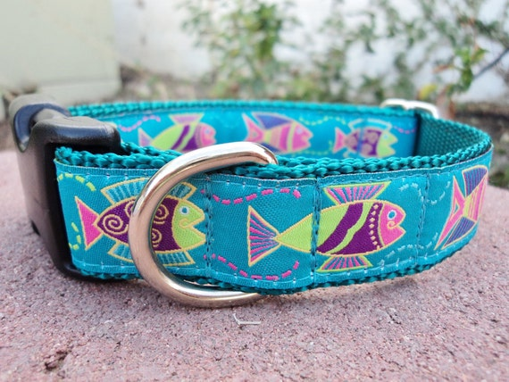 """Sale Dog Collar Happy Fish 1"""" wide Quick Release buckle adjustable -  Martingale style is cost upgrade"""