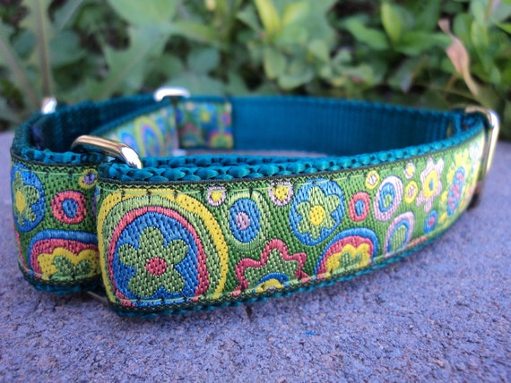 "Martingale Collar 1"" width adjustable Flower Circles - or side release listing within"