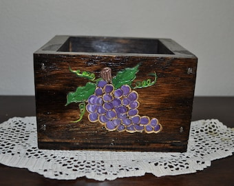 Wood Carved Grape Box Table Center Piece