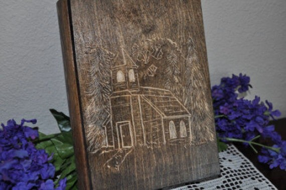 Hand Carved Wooden Jewelry Box Church in the Woods