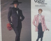 80s Yves Saint Laurent Pattern Classic Jacket, Skirt, Fitted, Welt Pockets, Notched Collar, Vogue Paris Original No. 2350 Size 14