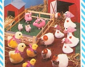 Vintage Soft Toys Barnyard Animals Pattern, Pigs, Lambs, Chicks, Geese  -  Simplicity 6353