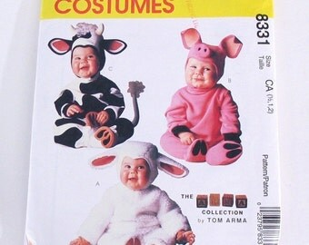 Tom Arma Pig Costume Pattern, Toddler, Cow, Bull and Lamb  McCalls No. P315 / 8331 Size 2 3 4